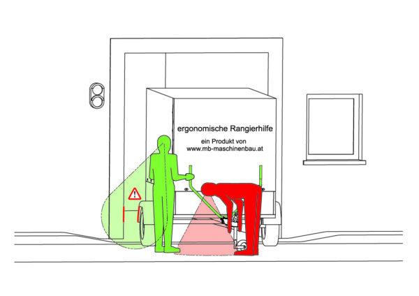 Sicht auf kollisionsgefährdete Hauseinfahrt - mit Rangierhilfe - ergoRang